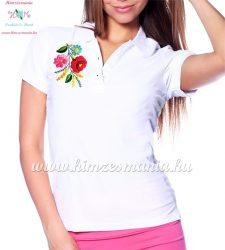 Kalocsai mintás női galléros piké póló - kézi hímzés - fehér