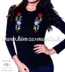 Ladies long sleeve T-shirt - hungarian traditional machine embroidery - Kalocsa style - black
