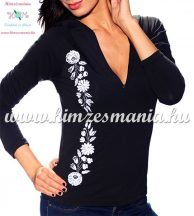 Ladies long sleeve t-shirt half-zip - hungarian white embroidery - Kalocsai pattern - black