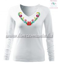 Woman T-shirt - long sleeve - V-neck - hungarian folk hand embroidery - Heart Matyo motif - white
