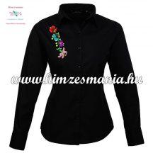 Woman long sleeve shirt - hungarian machine embroidery - Kalocsa style - black