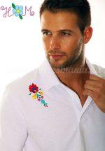 Men's polo shirt - folk machine embroidery - Matyo motif - white - Embroidery Mania