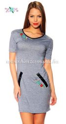 Embroidery Mania - T-shirt dress hungarian folk machine embroidered - gray