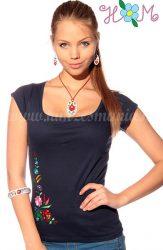 Embroidery Mania - T-shirt hungarian folk machine-embroidered - Kalocsa style - blue