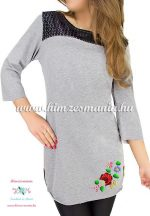 Tunic - hungarian folk machine embroidery - Kalocsa motif - gray