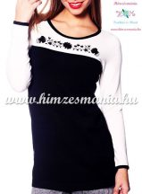 Women elegant sweater - hungarian folk embroidery - Kalocsa motif - black-cream