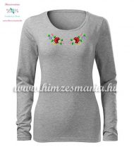 T-shirt woman - long sleeve - folk embroidery - hungarian motif - gray