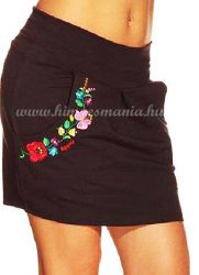 Skirt - hungarian folk - machnine embroidery - Kalocsa style - black
