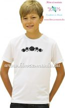 White T-shirt boys - hungarian machine embroidery - black Kalocsa motif