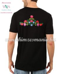 Men's Short Sleeve T-Shirts - hungarian folk embroidery - handmade - Matyo pattern - black