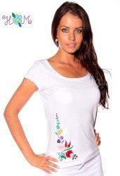 Hímzésmánia - kalocsai hímzett póló - fehér (S, M, L, XL)