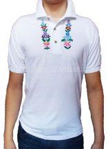 Hímzésmánia - kalocsai mintás hímzett galléros póló -  hímzés színe választható (L)