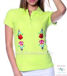 Women polo shirt - hungarian folk  machine embriodery - Kalocsai design - apple