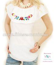 Summer women's blouse - hungarian folk embroidery - Kalocsa pattern - white