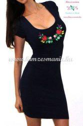 Rövid ujjú fekete női ruha - kalocsai minta - gépi hímzés