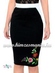 Elegant skirt - folk hand embroidered - tradicional Kalocsa motif - cream
