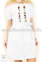 Women's tunic - short sleeves - folk machine embroidery - Kalocsa motif - white