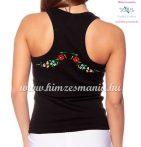 Női trikó hátulján hímzett kalocsai mintával - fekete - Hímzésmánia
