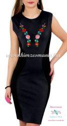 Ujjatlan női ruha elején-hátulján kalocsai kézi hímzéssel - Hímzésmánia - fekete