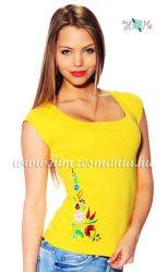 Hímzésmánia - hímzett kalocsai mintás póló - sárga