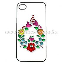 Phone case - hungarian folk drop-shaped pattern - Kalocsa style - iPhone - Samsung - white