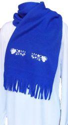 Hímzésmánia - kalocsai hímzett polár sál - unisex - királykék