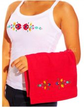 Hand towels - hungarian folk embroidery - Matyo style - red