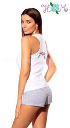 Tanktop - Kalocsa folk embroidery - white