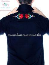 Men's shirt - hungarian folk machine embroidery - Kalocsa style - Embroidery Mania - black