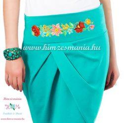 Elegant skirt - hungarian folk Kalocsa machine embroidery - turquoise - Embroidery Mania