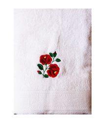 Towels - hungarian folk pattern - Kalocsa rose - white