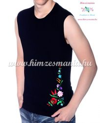 MEN SLEEVLESS T-SHIRT - hungarian folk machine-embroidery - Kalocsa style - black - Embroidery Mania