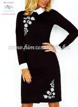 Fehér galléros elegáns női ruha - fekete - fehér kalocsai minta - gépi hímzés
