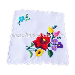 Small tablecloth - hungarian folk - hand embroidery - Kalocsa style - 15x15 cm
