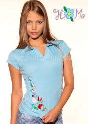 Hímzésmánia - kalocsai mintás női galléros póló - világoskék