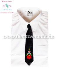 Kalocsai mintás hímzett gyerek nyakkendő - fekete - Hímzésmánia