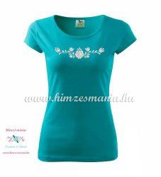 Woman's Short Sleeve T-Shirts - hungarian folk embroidery - Matyo motif - turquoise