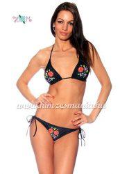 Bikini - hungarian folk motif - Kalocsa style - black