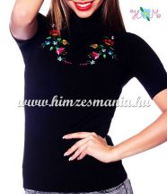 Women turtleneck sweater - hungarian folk embroidery - Kalocsa pattern - black