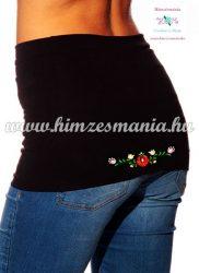 Waist Warmer - hungarian folk embroidery - matyo style - black