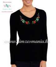 Women's long sleeve V-neck T-shirt - folk embroidery - hungarian style - black