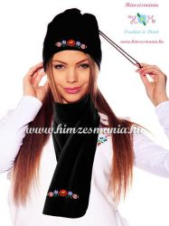 Hat scarf set - thermovelur -  hungarian kalocsa motif - macine embroidery - black