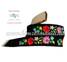 Belt - folk flower - machine embroidery - Kalocsa style - black