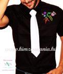 Rövid ujjú férfi ing - kalocsai minta - gépi hímzés - fekete
