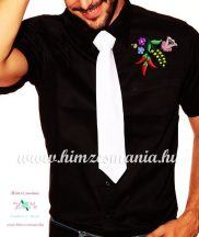 Mens Shirts - folk embroidery from Hungary - black