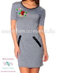 Tunic - hungarian folk machine embroidery - Kalocsa style - gray