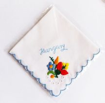 Handkerchief - hungarian folk embroidered - Kalocsa style - blue