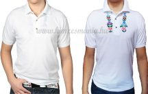Hímzésmánia - hímezhető férfi galléros póló kalocsai mintával - fehér