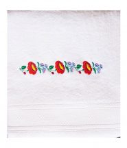 Towels - hungarian folk pattern - Kalocsa style - white
