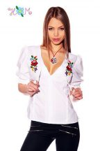 Blouse - hungarian handmade - embroidery Kalocsa style - white